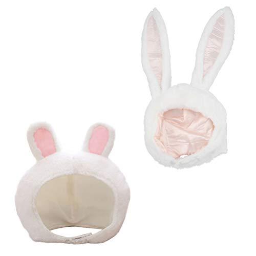 PRETYZOOM 2 Piezas Gorro de Orejas de Conejo Sombrero de Conejo de Dibujos Animados Gorro de Felpa Animal para Nios Adultos Disfraz de Fiesta Cosplay (Blanco)
