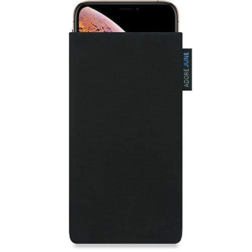 Adore June Classic Schwarz Tasche für Apple iPhone XS & iPhone X Handytasche aus beständigem Cordura Stoff | Robustes Zubehör mit Bildschirm Reinigungs-Effekt | Made in Europe