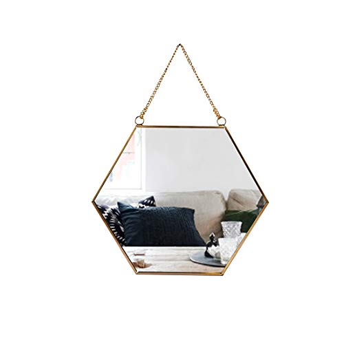 C&Z Hanging Wall Hexagon Mirror Decor Gold Geometric Vintage Style Mirror with Chain for Bathroom Bedroom Living Room 9.4'x 8.2'