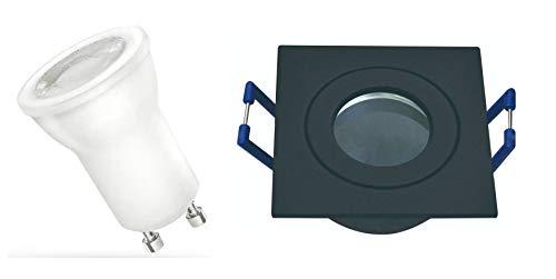 10 x Kleiner Led Feuchtraumeinbaustrahler IP44 Spot Lampe Deckeneinbauleuchte eckig anthrazit + 35mm MR11 Led GU10 warmweiss für Deckeneinbau 230Volt Anschluß Einbautiefe 6cm