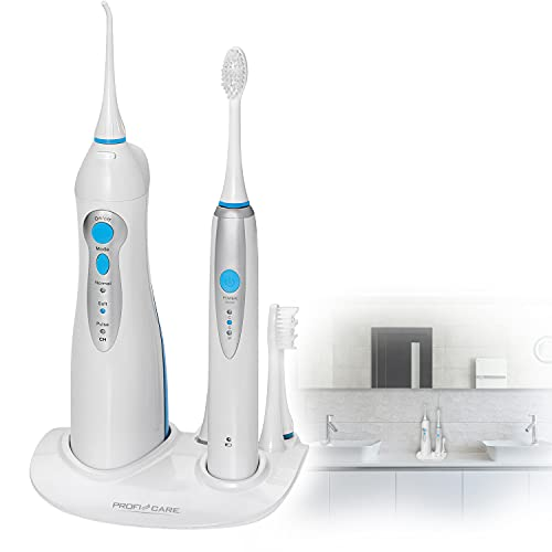 Elektrische Zahnbürste Schall mit Munddusche Elektrisch Schallzahnbürste (2 Minuten Timer, 4 Stufen, 3 Aufsätze, Zahnreinigung, Akku, inkl Ladestation)