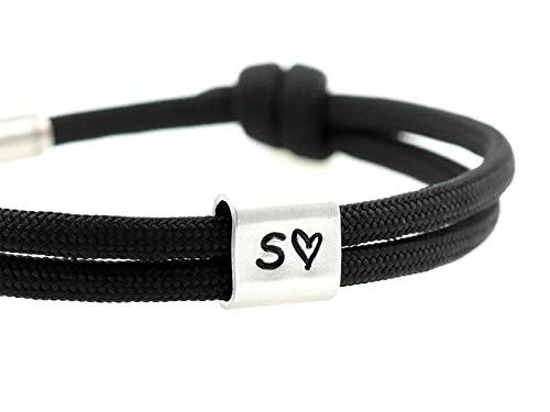 KOMIMAR Surfer Armband myLOVE mit persönlicher PRÄGUNG/GRAVUR in vielen Farben - personalisiert - verliebt - Gravur Armband - Liebe - Jahrestag - Geschenkidee - Schmuck für verliebte - Initiale