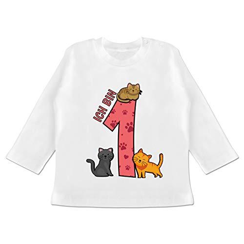 Geburtstag Baby - 1. Geburtstag Katzen - 6/12 Monate - Weiß - t-Shirt 1. Geburtstag Maedchen - BZ11 - Baby T-Shirt Langarm