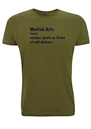 Martial Arts Meaning T-Shirt für Herren, Karate, Kung Fu, Bruce Lee, Kampfsport, Fitness Gr. S, armee-grün