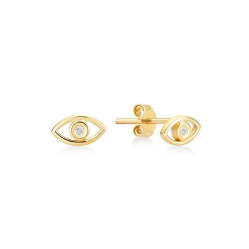 GELIN - Pendientes de tuerca de oro macizo de 14 quilates, 0,01 ct con diamantes de 0,01 ct – Joyas para mujer