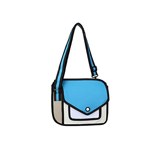 VIccoo Frauen 2D Schulter Schultasche 3D Zeichnung Cartoon Papier Comic Crossbody Handtasche - Blau