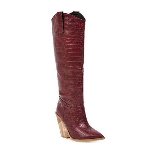 Botas de Mujer Patrón geométrico Slip-on Western Cowboy Boots Invierno cálido Felpa Punta Puntiaguda Tacón Cuadrado Vaquera Rodilla Botas de Moto Altas