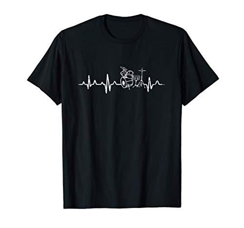 Latido del Corazón con Tambores Batería Regalo Drums Stick Camiseta