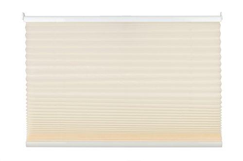 mydeco Plissee cream ohne Bohren 120 cm breit, verspannt, Jalousie Rollo -Komplettset- mit doppelten Stoff (Wabe), 120x130 cm