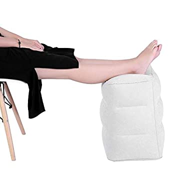 TMISHION Travel Foot Rest Pillow PVC Inflatable Footrest Adjustable Height Pillow for Foot Leg Pillow on Airplanes Cars Buses Trains Office Grey