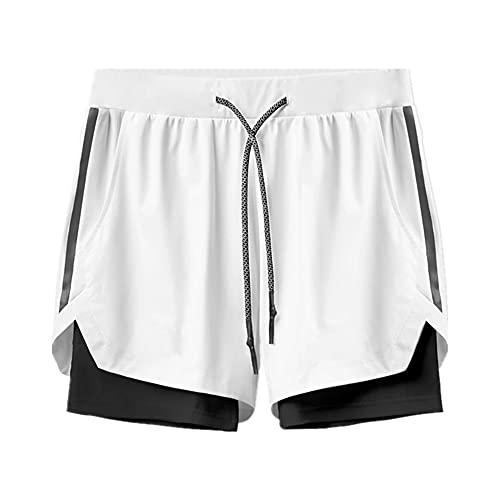 N\P Pantalones Cortos de Deportes antirreflejos de Doble Capa para Hombre Pantalones
