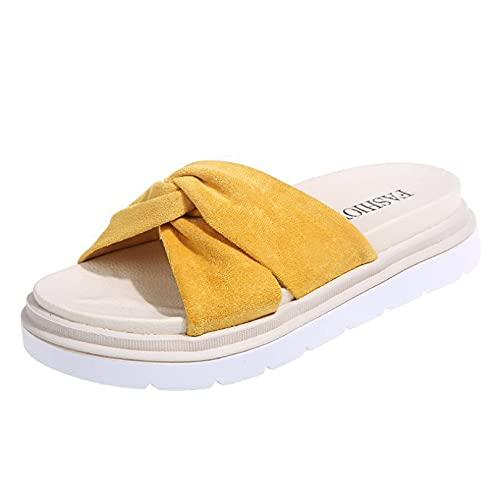 Sandalias de plataforma para mujer, cómodas y resistentes al agua, con puntera abierta, con correa cruzada, Amarillo, 37 EU