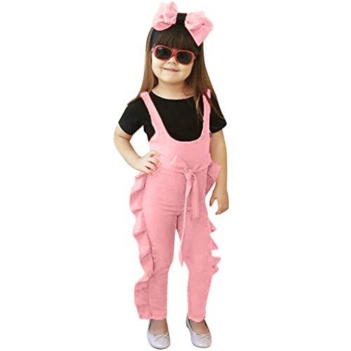 Janly Clearance Sale Mameluco para niñas de 0 a 4 años, sin mangas, con estampado sólido, para niños de 2 a 3 años, regalo de Pascua de San Patricio (rosa)