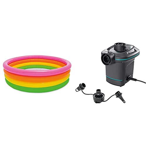 Intex 56441Np - Piscina Hinchable 4 Aros Colores 168 X 46 Cm,780 litros + 66640 - Bomba Eléctrica Invertible con Boquillas 220-240V