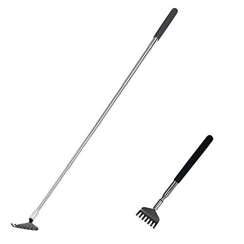 Gobesty Rascador trasero extensible, herramienta para rascar de 20-68 cm Rascador trasero de acero inoxidable Rascador telescópico antipicazón para la cabeza y la espalda
