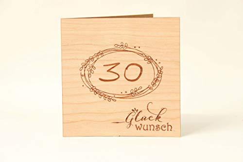 Holzgrußkarten Glückwunschkarte zum 30. Geburtstag - 100% Made in Austria - Karte besteht aus Kirschholz - geeignet als Karte zum Geburtstag bzw. Birthday, Geburtstagskarte, Geburtstagsgeschenk uvm.