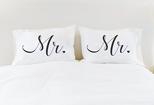Gay Wedding Gift Mr Mr Pillowcases His and His Mr Mr Pillow Cases Unique Wedding Gift for Gay Couple Gay Wedding LGBT