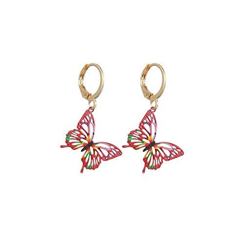 MURUI Eh Pendientes de Mariposa Pintados Lindos Europa y América Gotas Retro yc613 (Color : Rose Red)