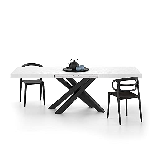 Mobili Fiver, Mesa extensible Emma, cemento blanco con patas cruzadas negras, ennoblecida/hierro, fabricada en Italia, disponible en varios colores