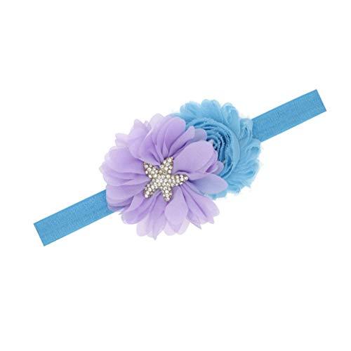 Baby Starfish Mermaid Headbands with Flower Hairband Girls Hair Accessories JB321 (2 Chiffon Flower)