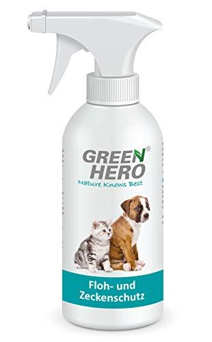Green Hero Floh und Zeckenspray für Hunde und Katzen Flohspray Flohmittel Zeckenschutz Anti-Zecken Mittel - gegen Flöhe, Zecken, Haarlinge, Läusen und Milben 500ml
