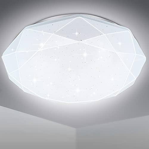 EXTRASTAR LED Plafoniera 24W Ultra magro UFO Pannello LED Rotondo Bianco 6500K 1900LM Lampada da Soffitto per Soggiorno Camera da letto Bagno Cucina Corridoio e Balcone 35cm