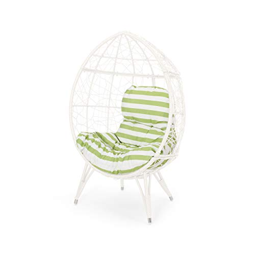 Cara Indoor Wicker Teardrop Chair with Cushion, White and Green