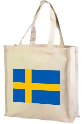 Schweden Flagge Tasche Einkaufstasche aus Baumwolle, Creme
