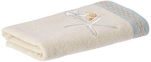 Avanti Linens Seaglass Collection, Embroidered Hand Towel, Beige