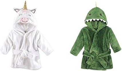 Hudson Baby Girl Plush Animal Face Bathrobe 2-Pack, Modern Unicorn Dinosaur