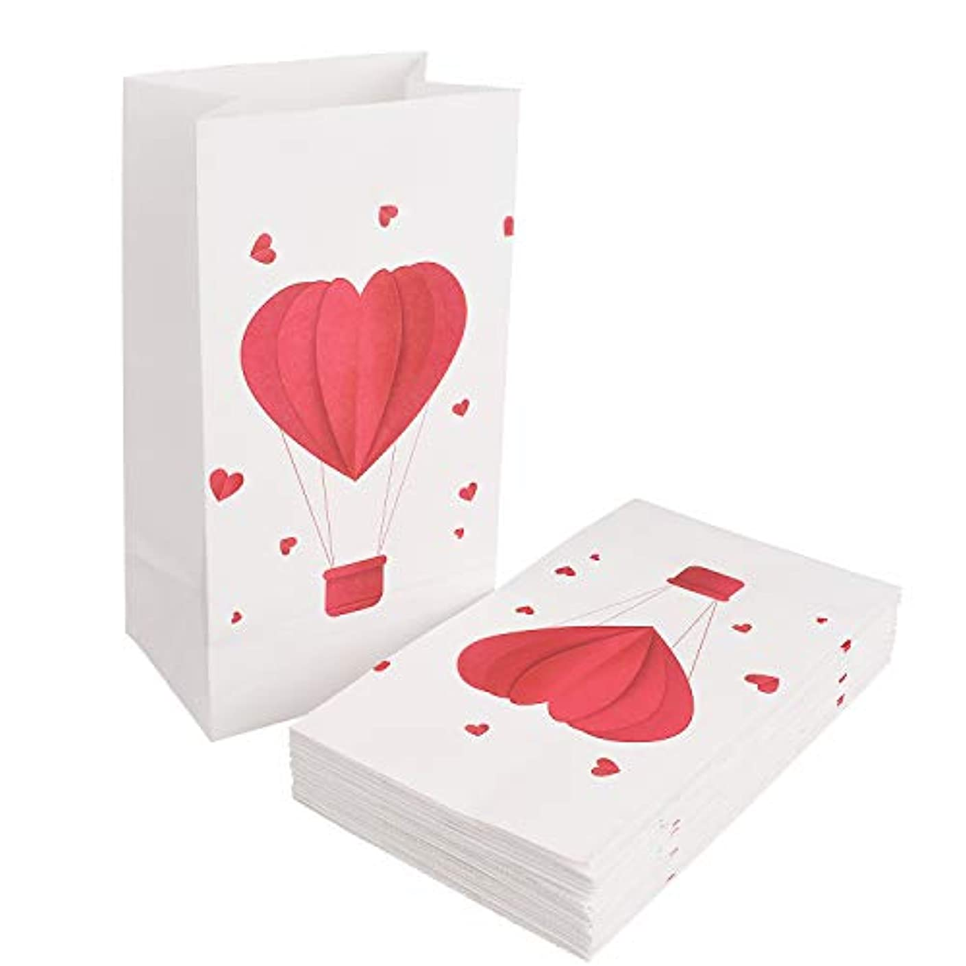 Valentine's Day Party Favor Bags 24 Pack Paper Hearts Goody Bags Small Candy Gift Toy Treat Bags by Topoox, 8.7 x 4.7 x 3.1 Inches