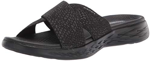 Skechers On-The-Go 600, Sandali a Punta Aperta Donna, Nero (Black Textile BBK), 39 EU