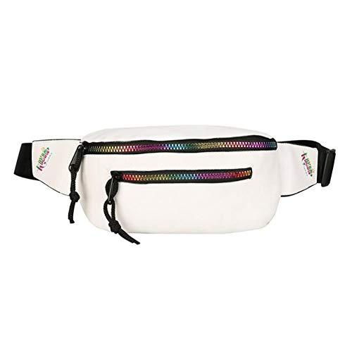 OKMPL Cintura in Pelle Nera Pu Puff colorato con Cerniera Chic Street Marsupio Borsa da Donna a Tracolla con Tracolla a Tracolla
