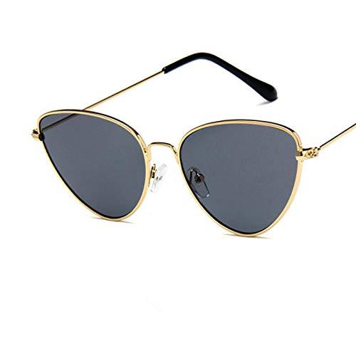 Gafas De Sol Moda Mujer Ojo De Gato Gafas De Sol Retro con Revestimiento De Metal Espejo Gafas De Sol Gafas Uv400 Gafas C5Goldback