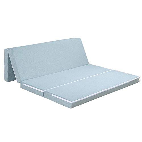 Folding Mattress Bed, Washable Emulsion Travel Cot Mattress Mother Nurture Travel Cot Mattress, Four-stage Folding Portable Save Space Moderate Soft and Hard