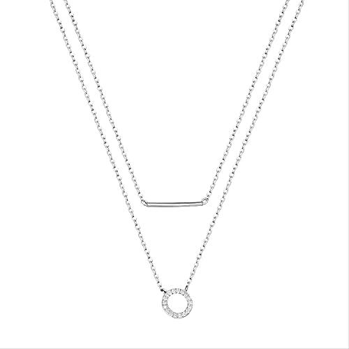 ZHUDJ Collar de Plata de Ley 925, Cadena de eslabones de Doble Capa, Colgante Redondo de Cristal, Gargantilla, Collar para niña, joyería de Cuello para Mujer