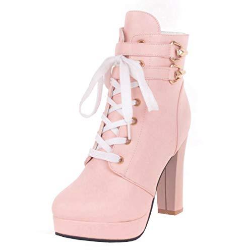 High Heels Plateau Stiefeletten Blockabsatz Ankle Boots zum Schnürung Winter Schuhe(Rosa,38)