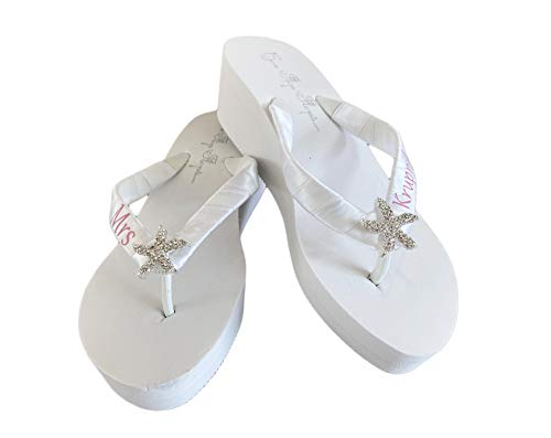 Starfish Bridal Flip Flops, Mrs Last Name Wedding Sandals in Pink & White or Ivory