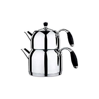 Korkmaz Flora Maxi Capsulated Turkish Tea Pot Set With Tempered Glass Lid - 1.1 & 2 Quart