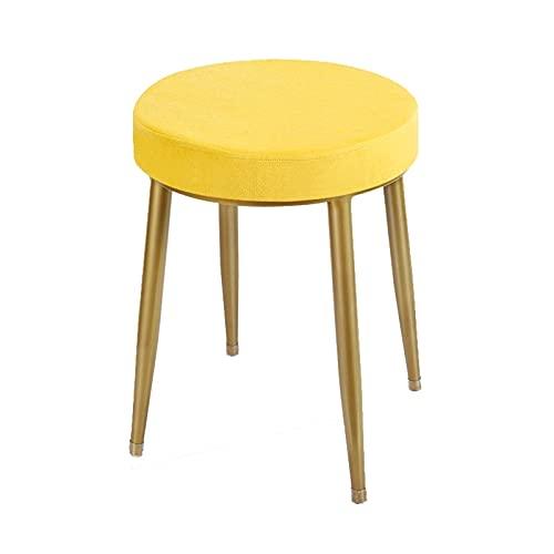 JIEPPTO 1pcs Shoe-changing Stool, Comfortable Seating, Exquisite Appearance, Metal Stool Legs, Load-bearing 200 Kg, Ergonomic Design (Color : Yellow)