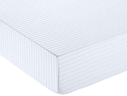 Amazon Basics - Lenzuolo con angoli deluxe in microfibra, a righe, Matrimoniale, 160 x 200 cm - Bianco Brillante