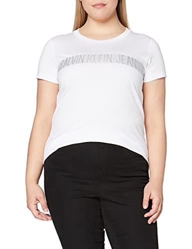 Calvin Klein Metallic Instit Logo Stripe Tee Camicia, White, X-Small Donna