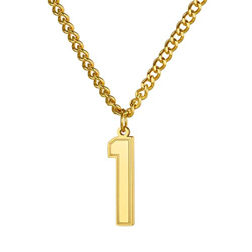 "GoldChic Jewelry 18K Gold Plated Lucky Number 1 Necklace Pendant Necklace Charm Jewelry with Curb Chain 22+2"" Extender"