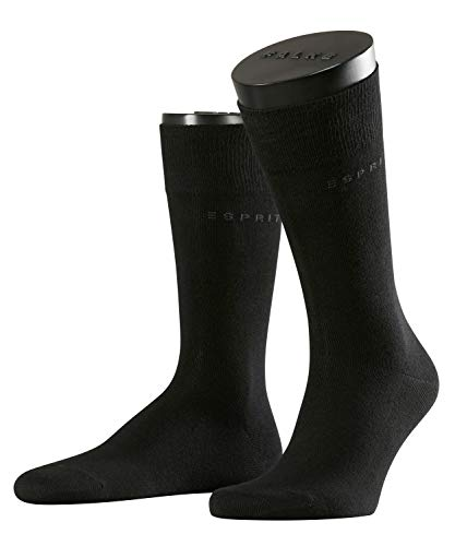 ESPRIT Herren Socken, Basic Uni 2-pack M So- 17811, 2er Pack, Schwarz (Black 3000), 39-42