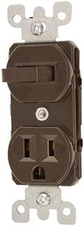 Leviton 5225 15 Amp, 120 Volt, Duplex Style Combination Single Pole Switch/Receptacle Grounding, Brown