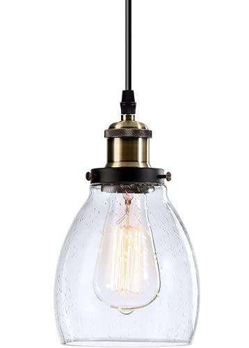 Mini luces colgantes de cocina Luces colgantes industriales Lámpara de iluminación de vidrio transparente de granja para interiores para comedor con isla (bombilla no incluida) (Bronce y Burbuja)