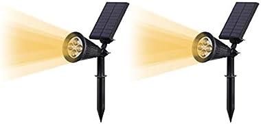 Quace Upgraded Solar Lights Pack of 2 Waterproof Outdoor Landscape Lighting Spotlight/Wall Light Auto On/Off for Yard Garden