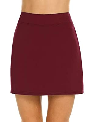 Ekouaer Golf Skirt Active Fitness Running Skorts with Inner Shorts Plus Size Wine Red XL