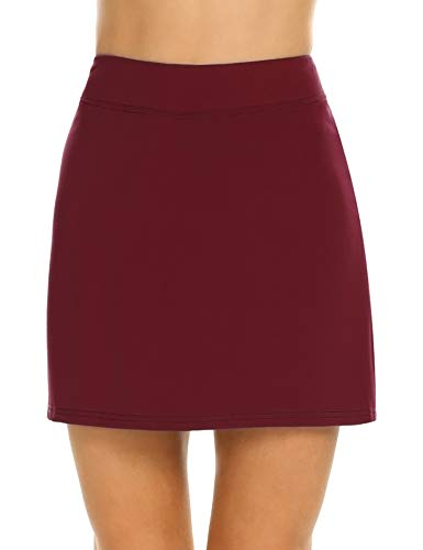 Ekouaer Women's Gym Stretchy Skorts with Underwear Active Skirts Plus Size Wine Red L