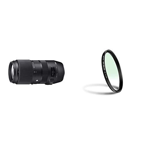 Sigma 100-400mm F5-6,3 DG OS HSM Contemporary Objektiv (67mm Filtergewinde) für Canon Objektivbajonett & Walimex Pro UV-Filter Slim MC 67 mm (inkl. Schutzhülle)